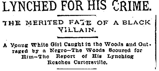 Lynched for his crime